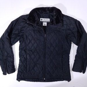 Columbia Diamond-Patterned Soft & Warm Black Coat